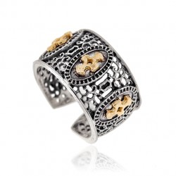 Siver Ring Vintage cross gold plated