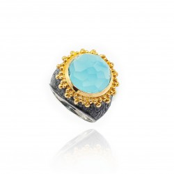 Vintage Silver Turquoise Blue Stone Ring