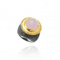 Anello vintage in argento con quarzo rosa