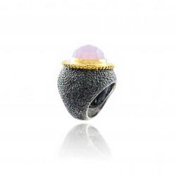 Bague/Anneau Argent Vintage bicolore oxyde ruthénium noir
