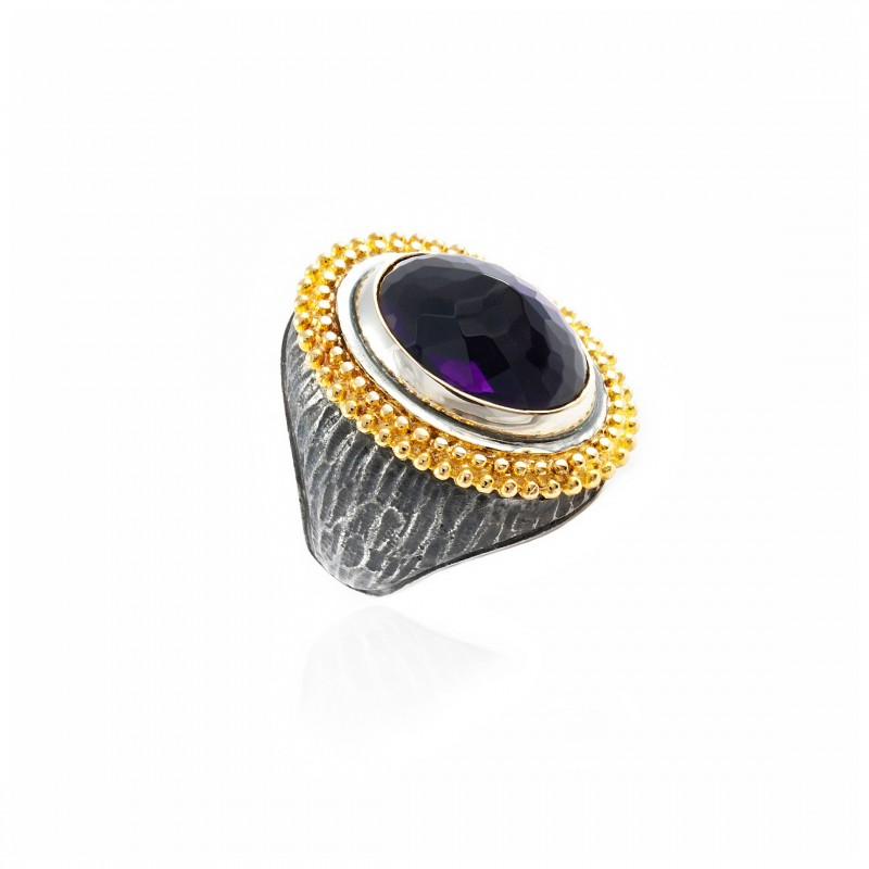 Anello in argento ovale vintage con ametista