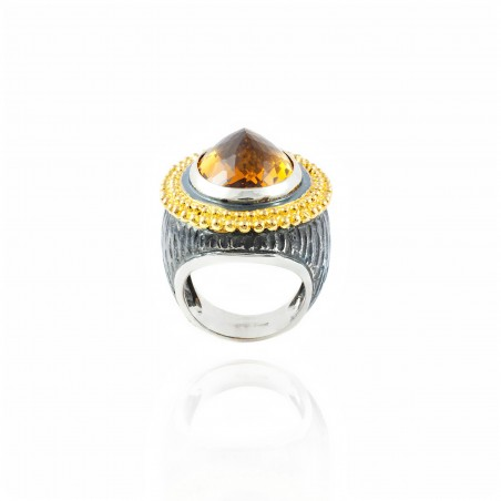 Anello in argento ovale vintage con ametista
