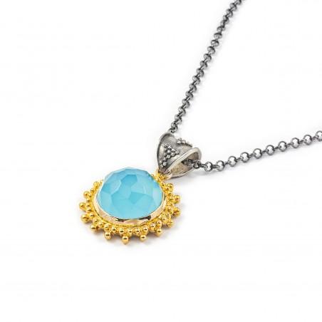 Ciondolo in argento vintage con quarzo blu
