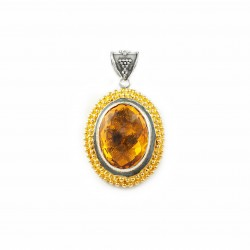 Vintage Oval Silver Pendant with Citrine Topaz