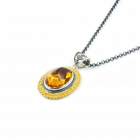 Ciondolo in argento ovale vintage con citrino topazio