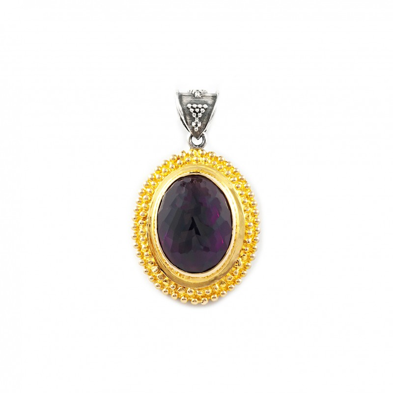 Vintage Oval Silver Pendant with Amethyst