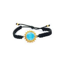 Vintage Silber Macrame Armband mit blauem Quarz