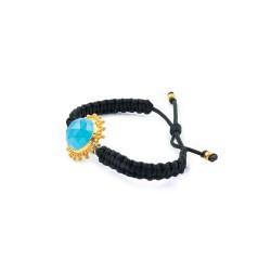 Vintage Silver Macrame Bracelet with Blue Quartz