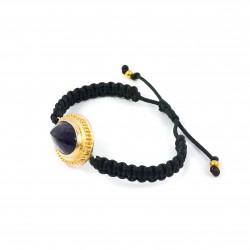 Bracelet en argent macramé avec améthyste