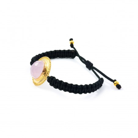 Vintage Silver Macrame Bracelet with Rose Quartz