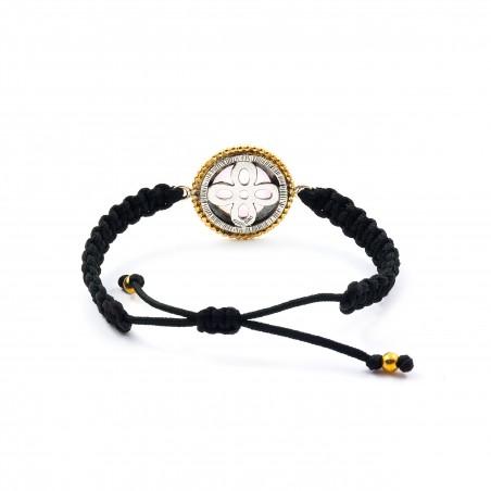 Bracelet en argent macramé vintage avec quartz rose