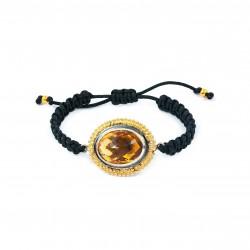 Bracelet en macramé ovale vintage avec topaze
