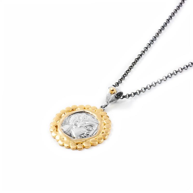 Silver Pendant Vintage gold plated/oxide Greek coin Laurel