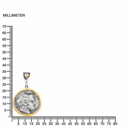 Anhänger Vintage Silber Greek Münzen Vergoldet/Oxid Alexander The Great