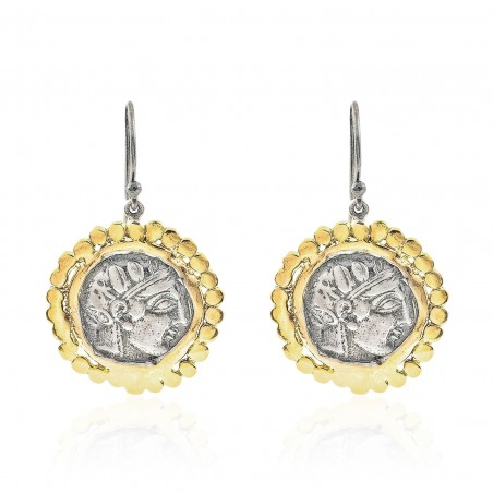 Silver Earring Vintage gold plated/oxide Greek coin