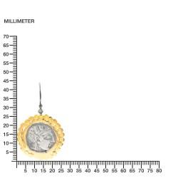 Orecchini Vintage Argento moneta greca Placcato in oro/ossido