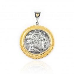 Pendente Vintage Argento moneta greca Placcato in oro/ossido Alessandro Magno