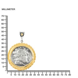 Colgante Plata Bicolor Moneda Alejandro Magno