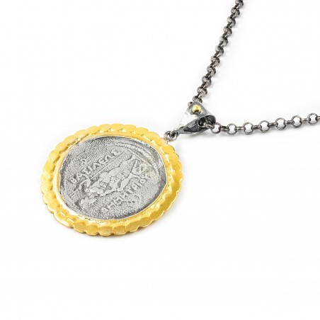 Silver Pendant Vintage gold plated/oxide Greek Coin Alexander The Great