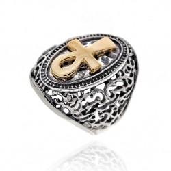 Ring Vintage Silber vergoldet kreuzen
